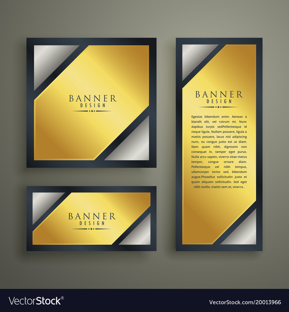Golden premium banner set design template vector image