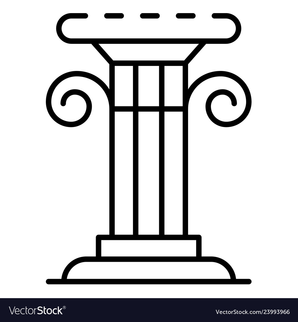 Greek column icon outline style