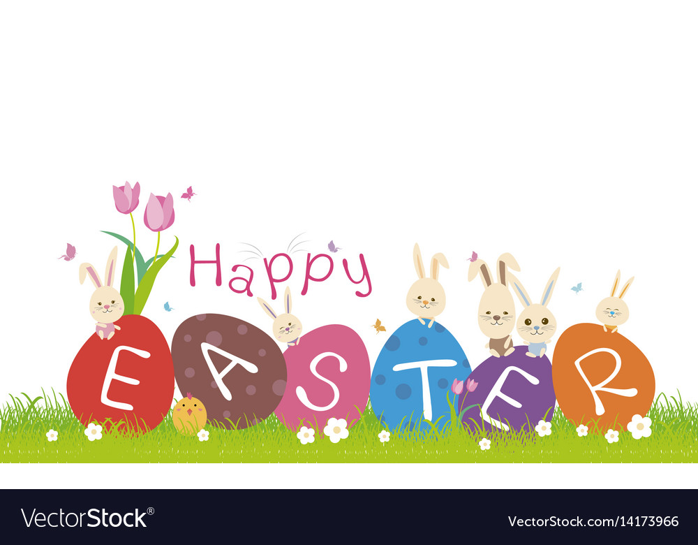 Happy easter concept of cute rabbit on green grass