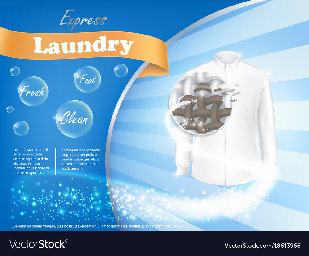 Laundry detergent advertising poster Royalty Free Vector