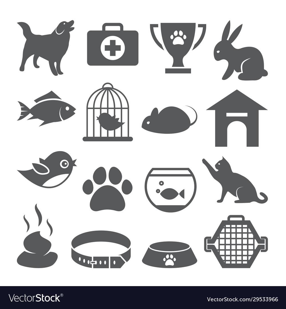 Pet shop icons set on white background