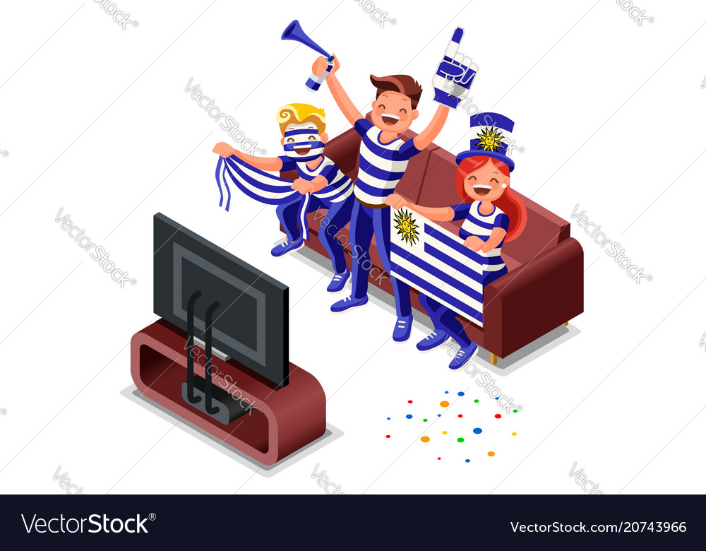 Russia world cup uruguayan supporter vector image