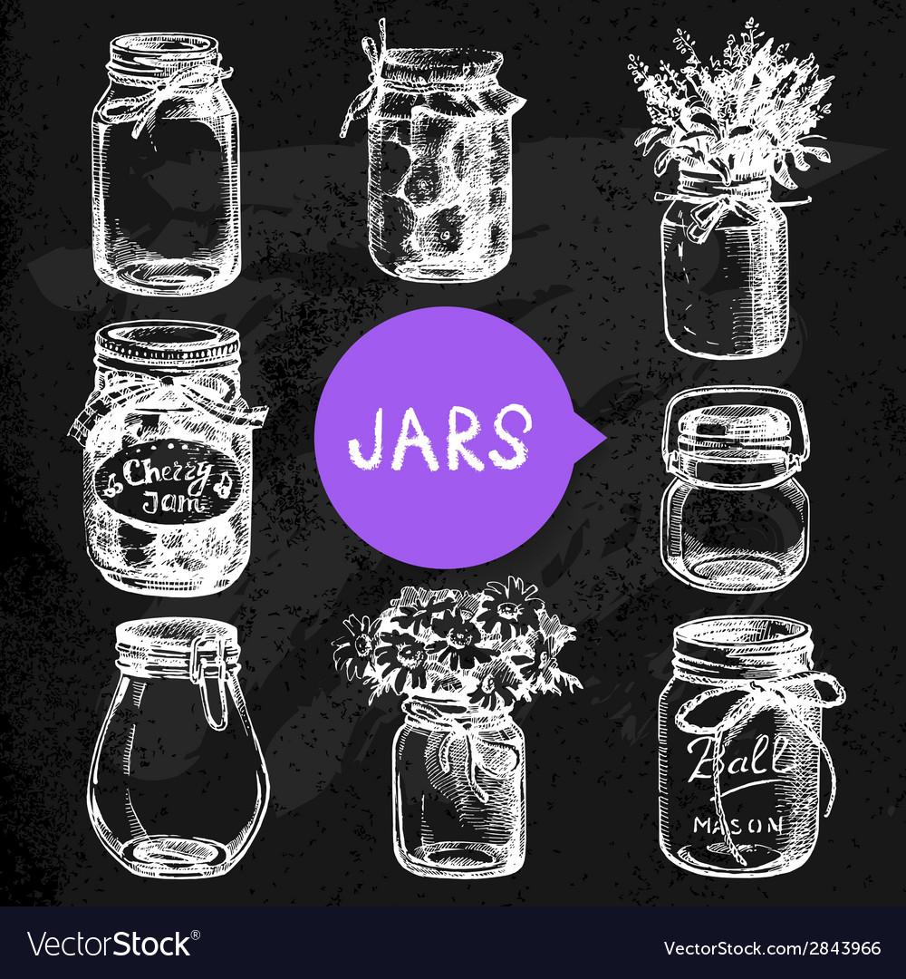 Rustic mason and canning jars hand drawn set