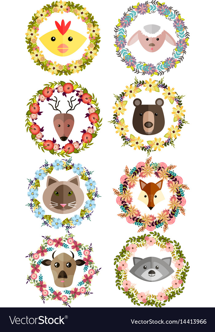 Set of wreaths with animals and flowers