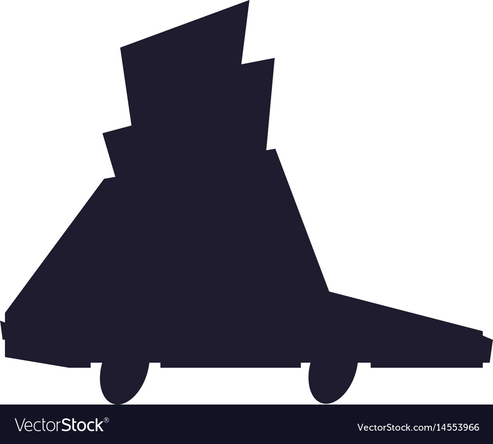 Silhouette car vehicle transport with package vector image