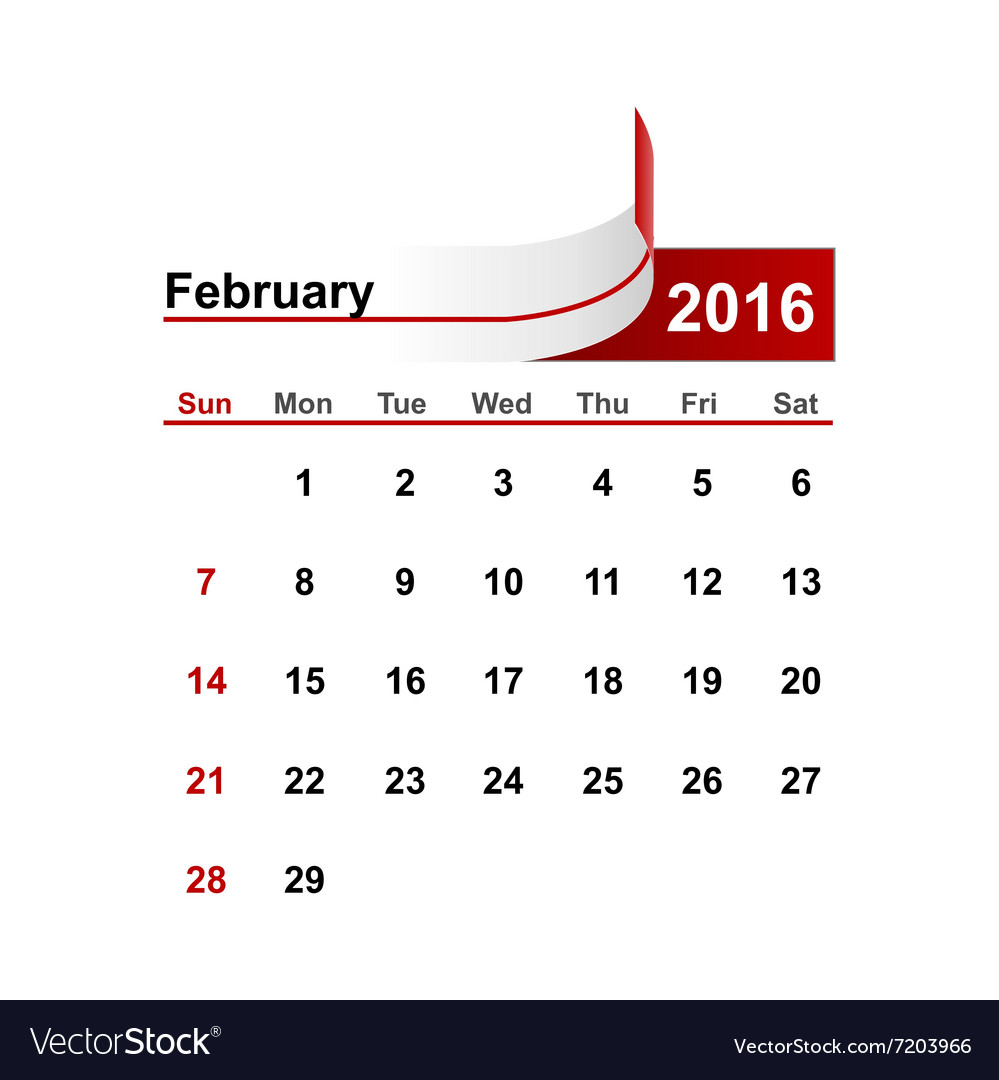 Simple calendar 2016 year february month