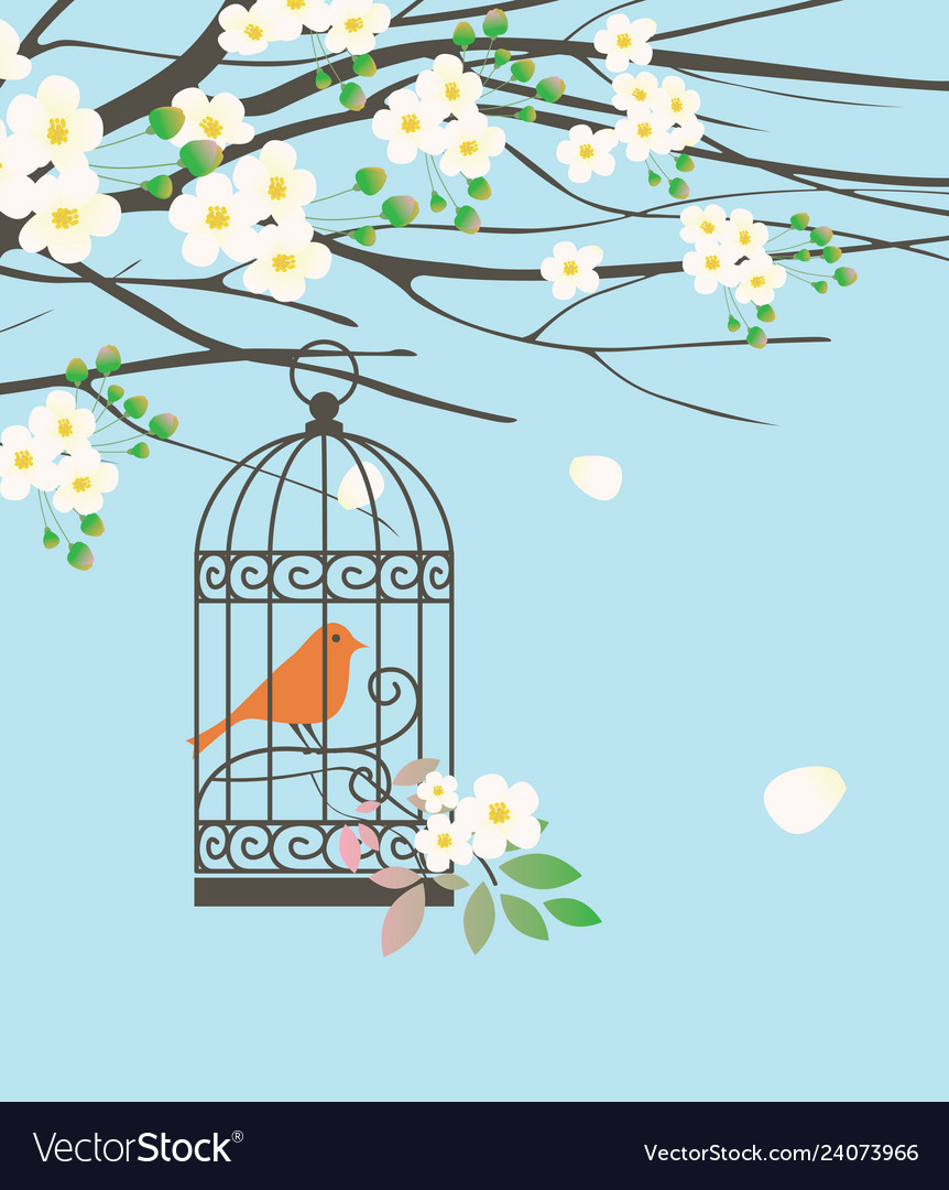 Spring banner with bird in cage under green tree