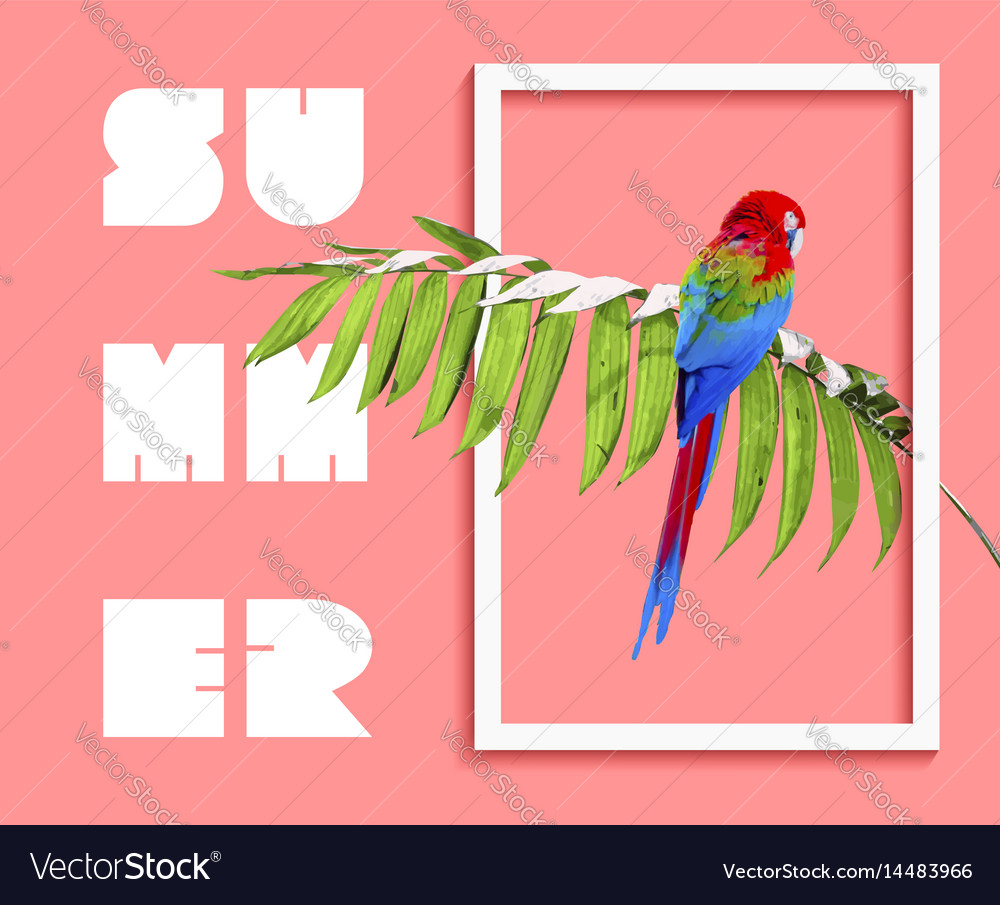 Summer paradise design of bird and palm tree