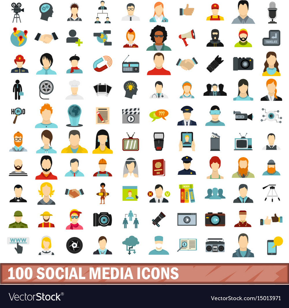 100 social media icons set flat style