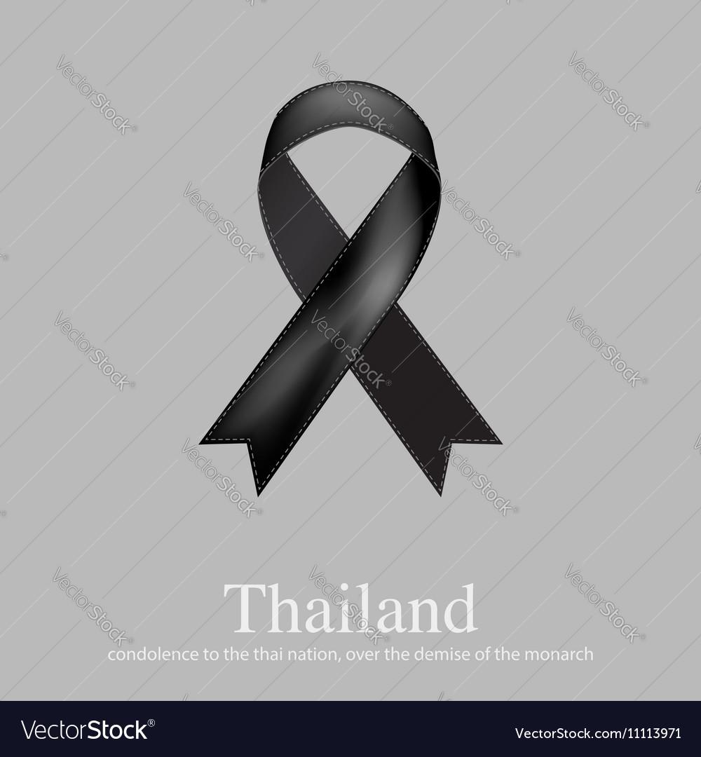 Black ribbon mourning sign for Thailand sad news vector image