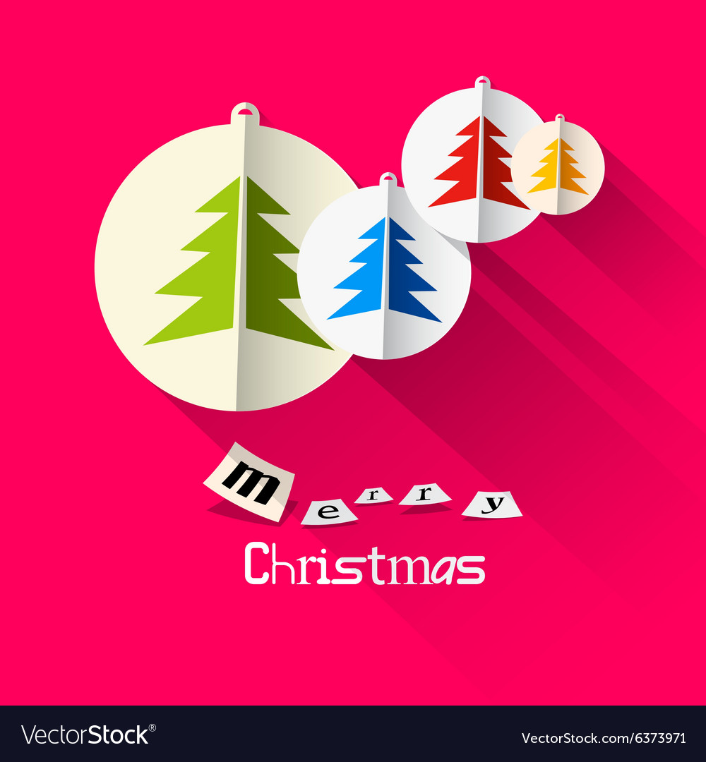 Christmas Pink Card with Merry Christmas Title and vector image