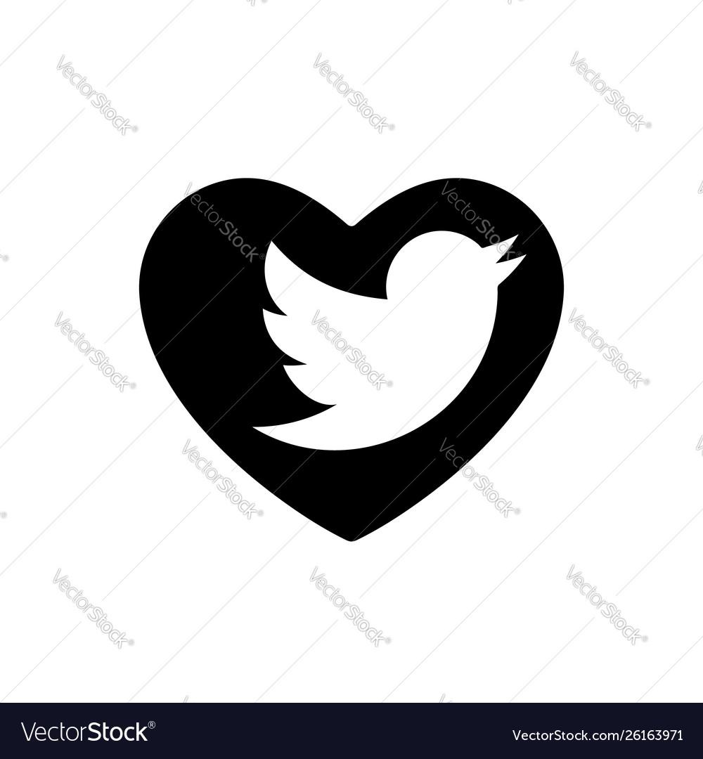 Heart black bird icon love symbol social media