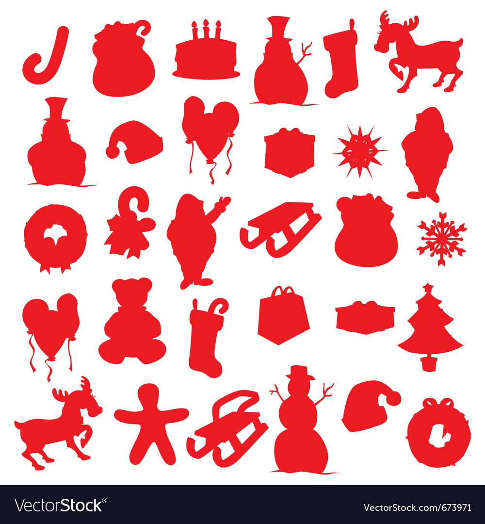 Christmas Items.Isolated Christmas Items Silhouettes