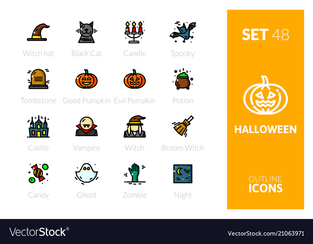 Outline color icons set in thin modern style