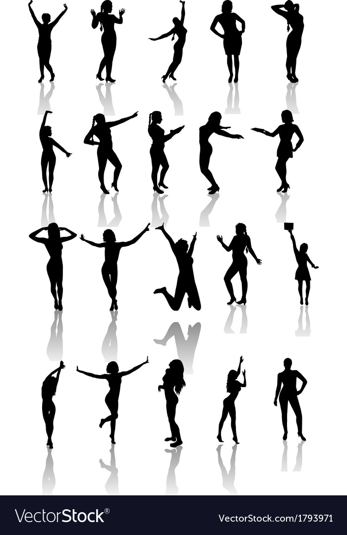 Set of silhouettes of dancing and jumping girls