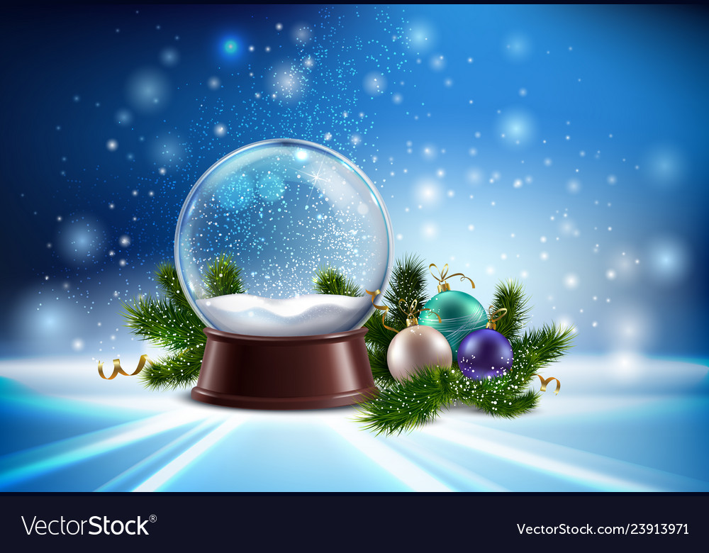 Snow globe realistic composition