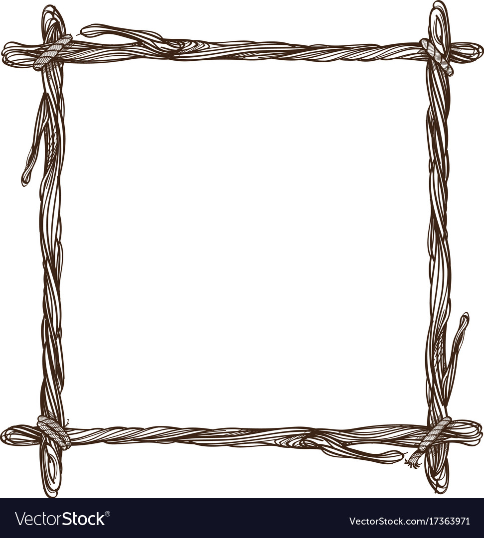 square frame made of branches decorative outline vector image