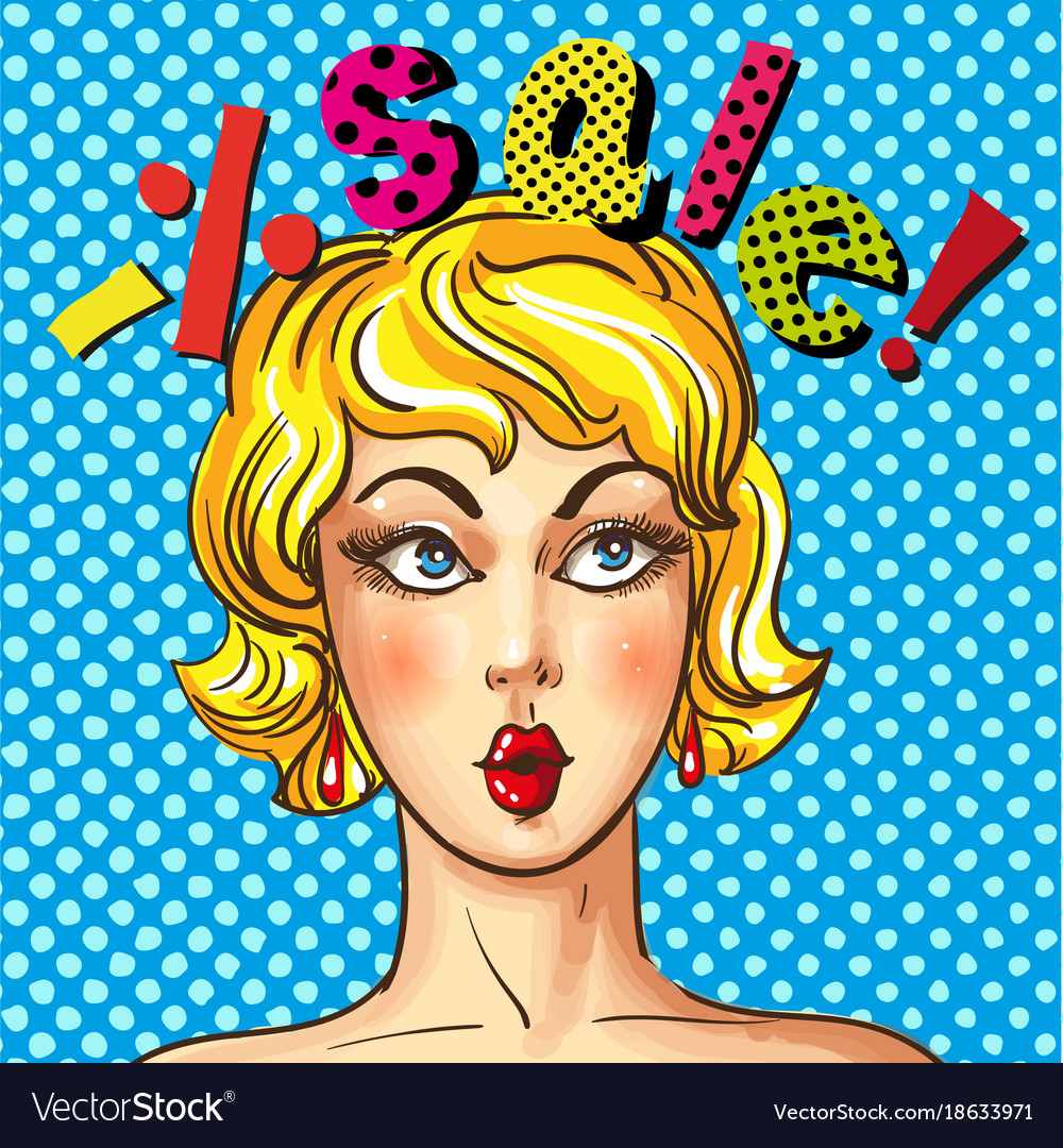 Vintage Pop Art Sales Advertising Poster Vector Image