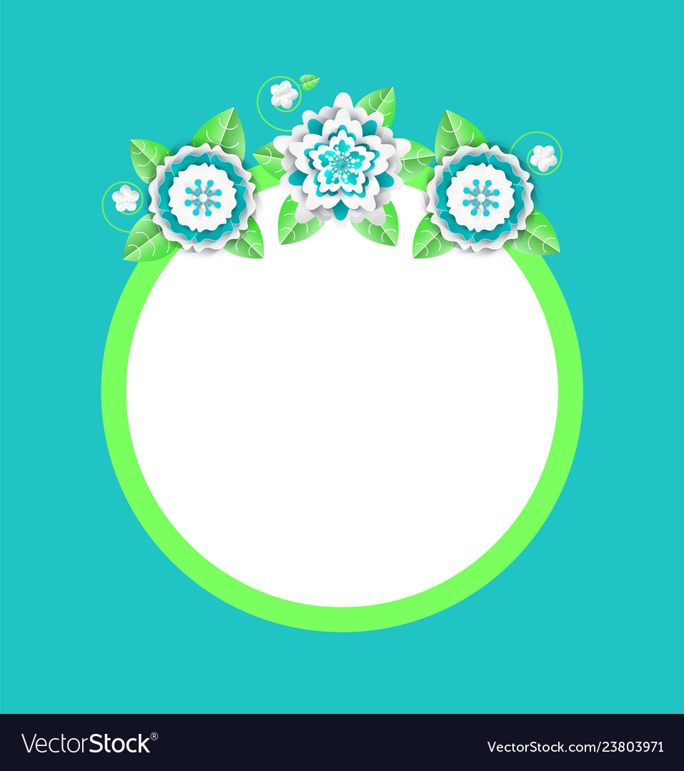 Web banner with papercut blooming flowers