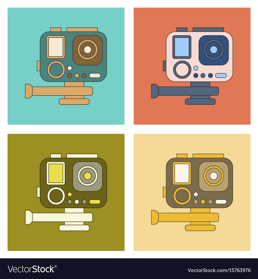 Assembly flat icon technology camcorder