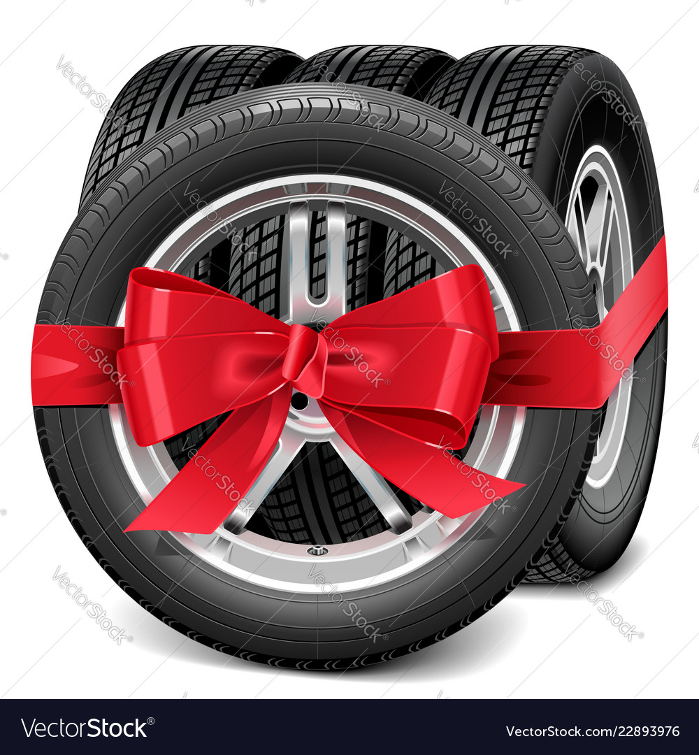 Car wheels with red bow