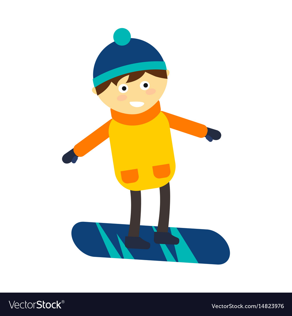Christmas Boy Snowboarding Playing Winter Game Vector Image