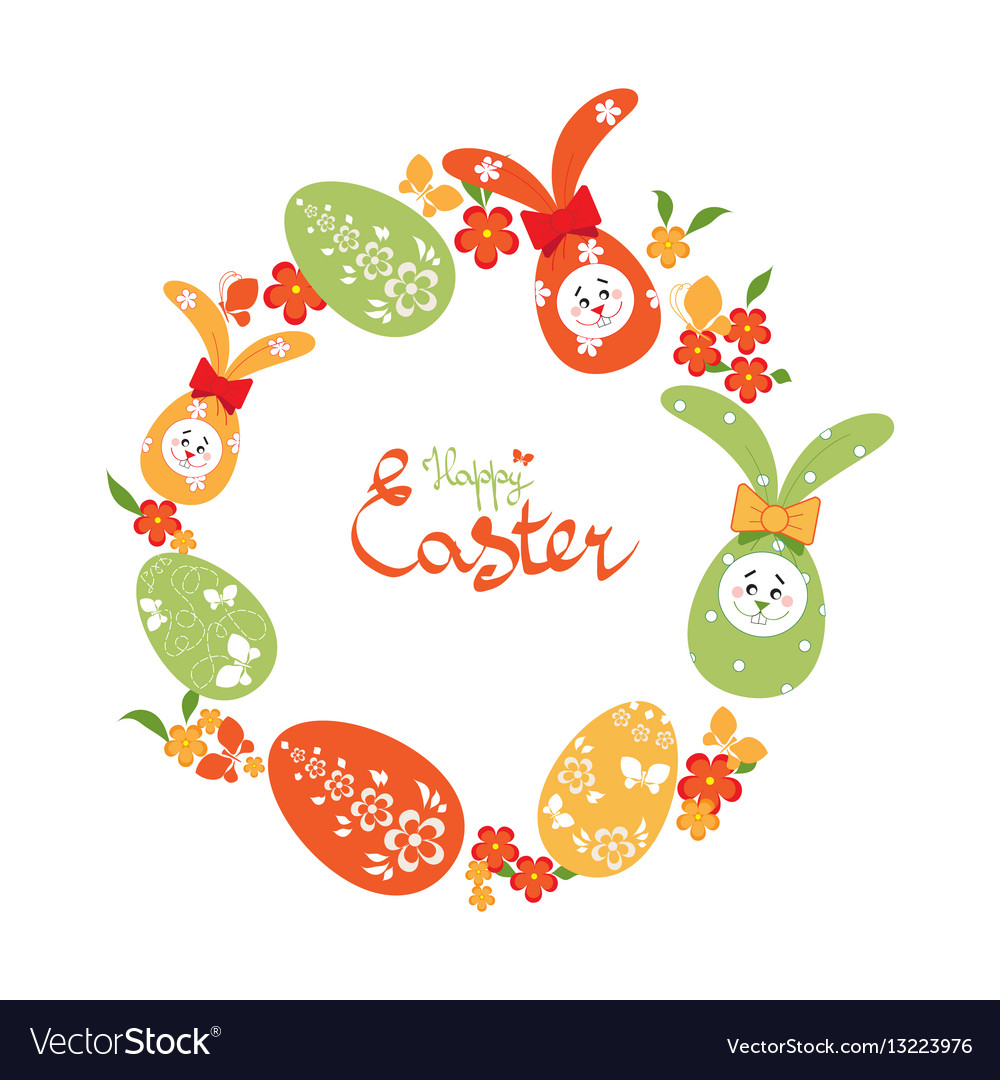 Easter background with wreath of easter eggs