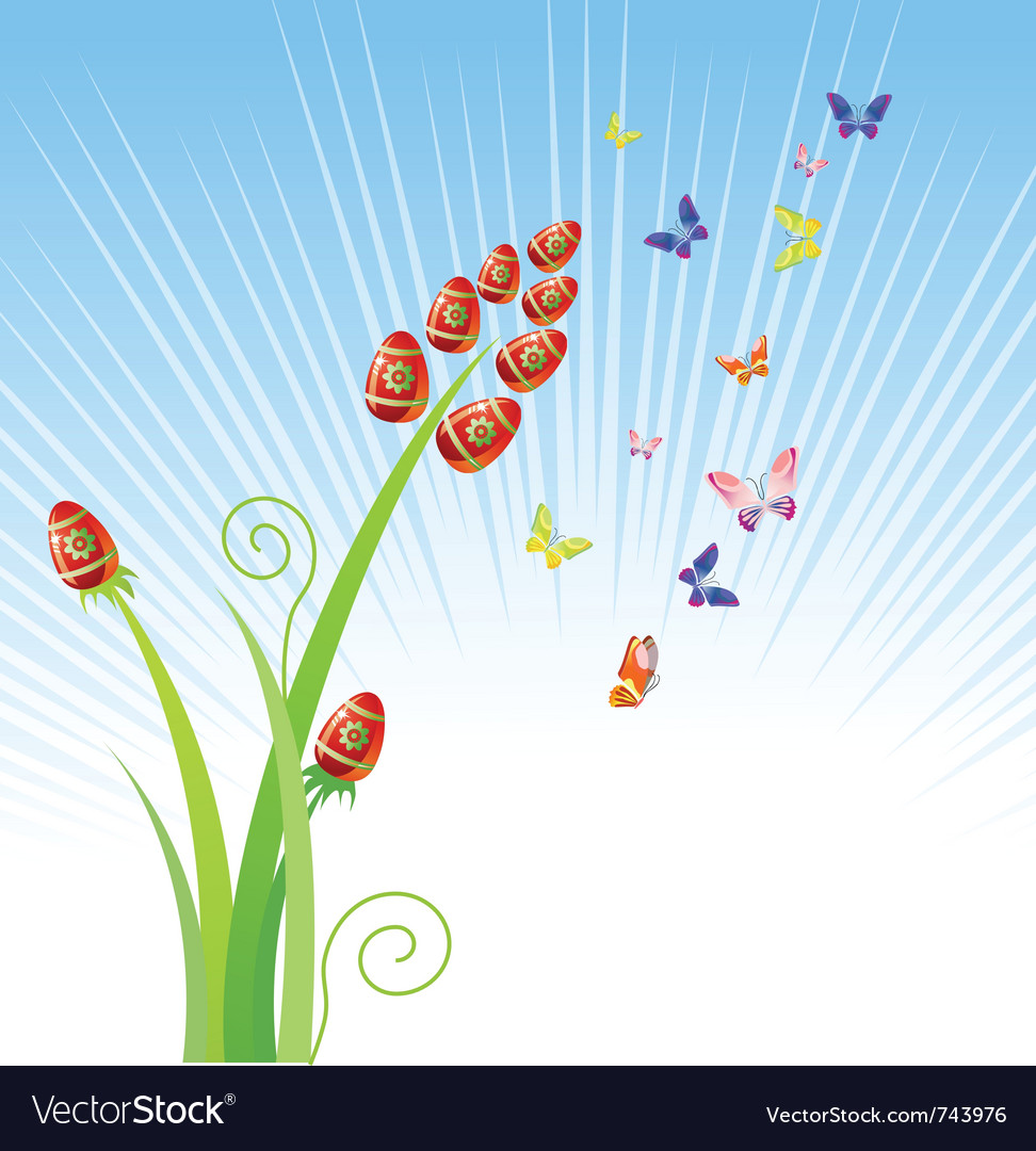 Easter eggs-flowers with butterfly holiday ornam vector image