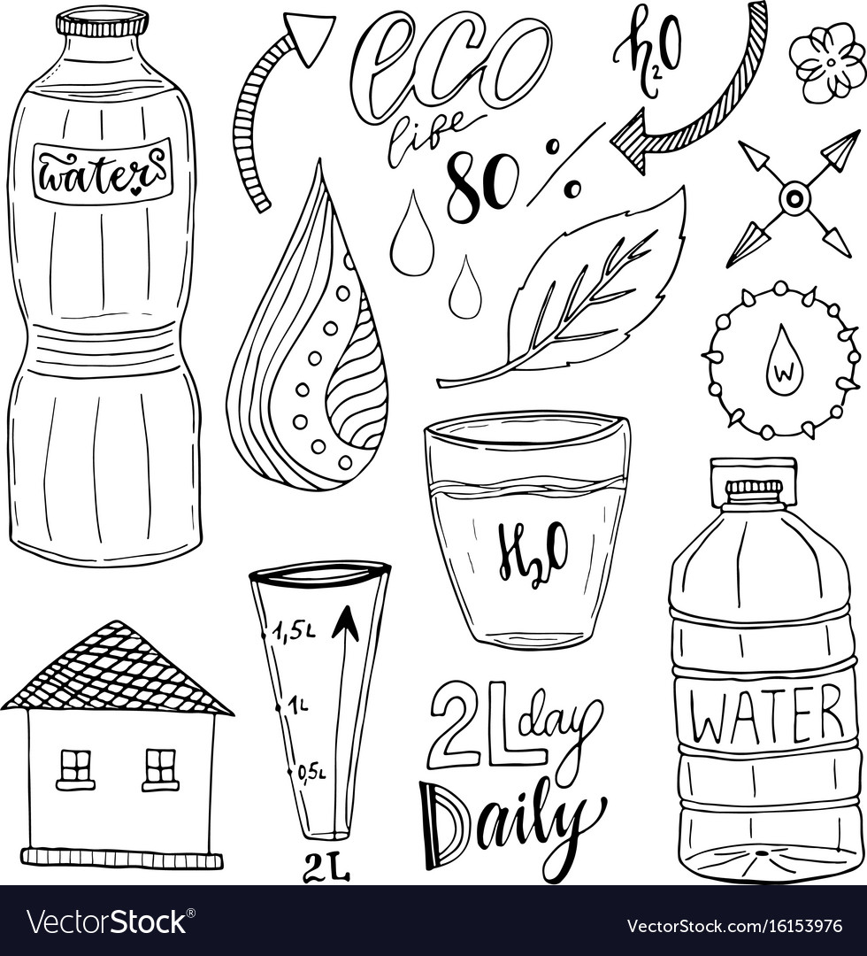 Hand drawn set of water and recycle icons healthy vector image