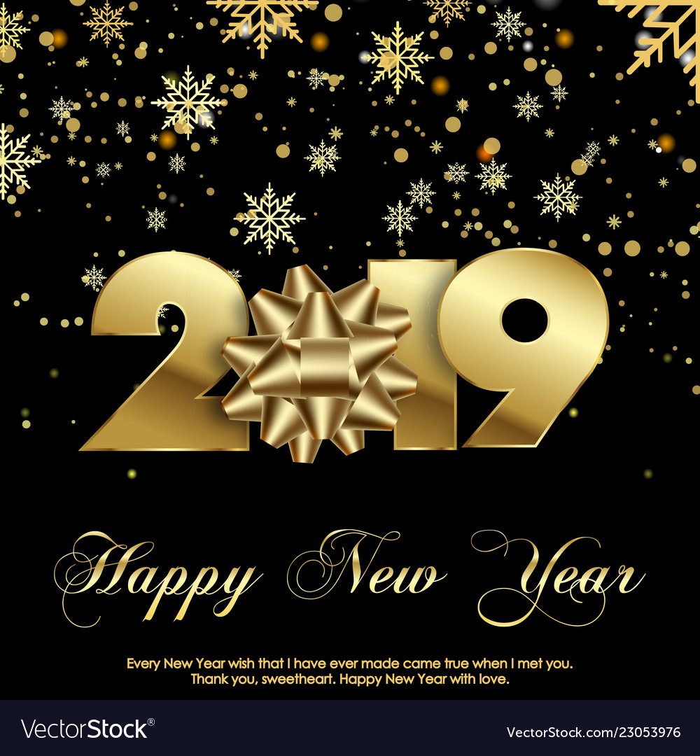 happy new year greeting card 2019 vector image