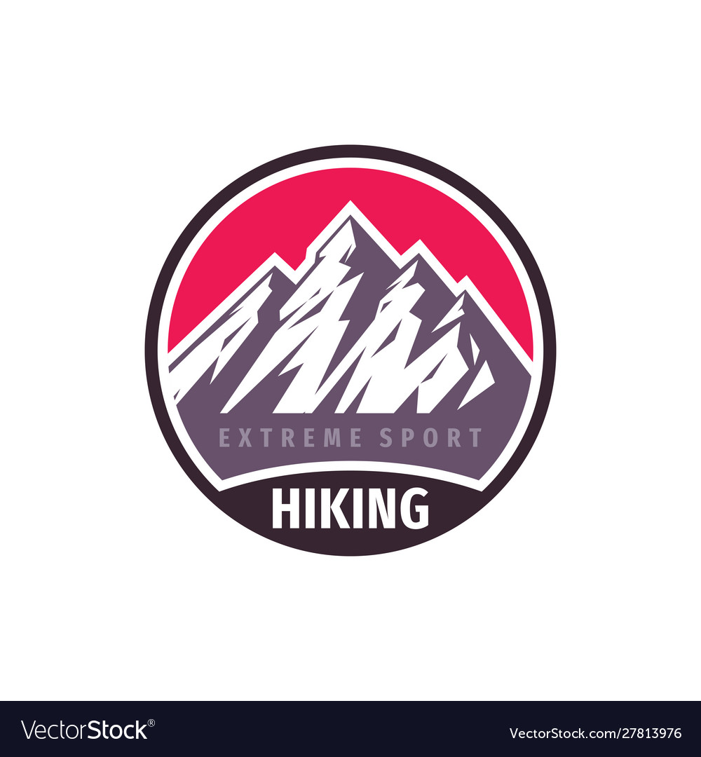 Mountains hiking extreme sport - concept badge