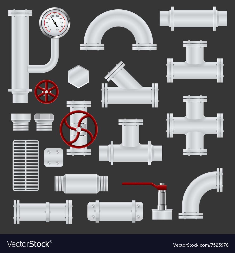Realistic pipeline elements vector image
