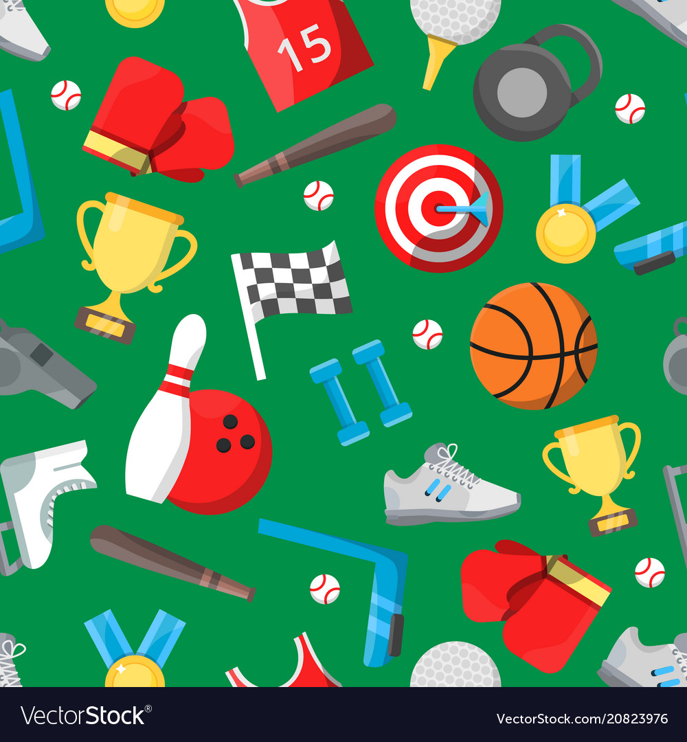 Seamless pattern with different sport equipment
