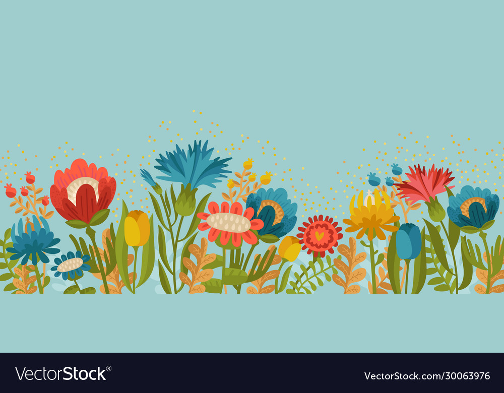 Simply spring garden flowers on blue background