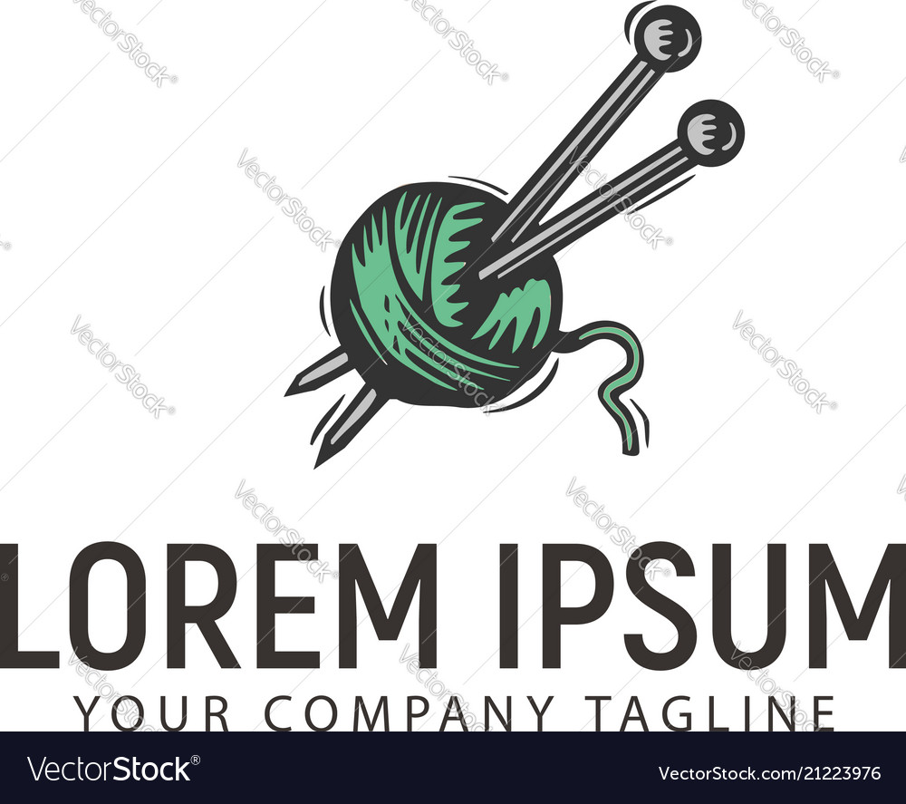 Thread and needle retro hand drawn logo design