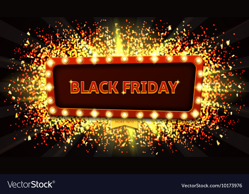 Web banner with glowing lamps for Black friday