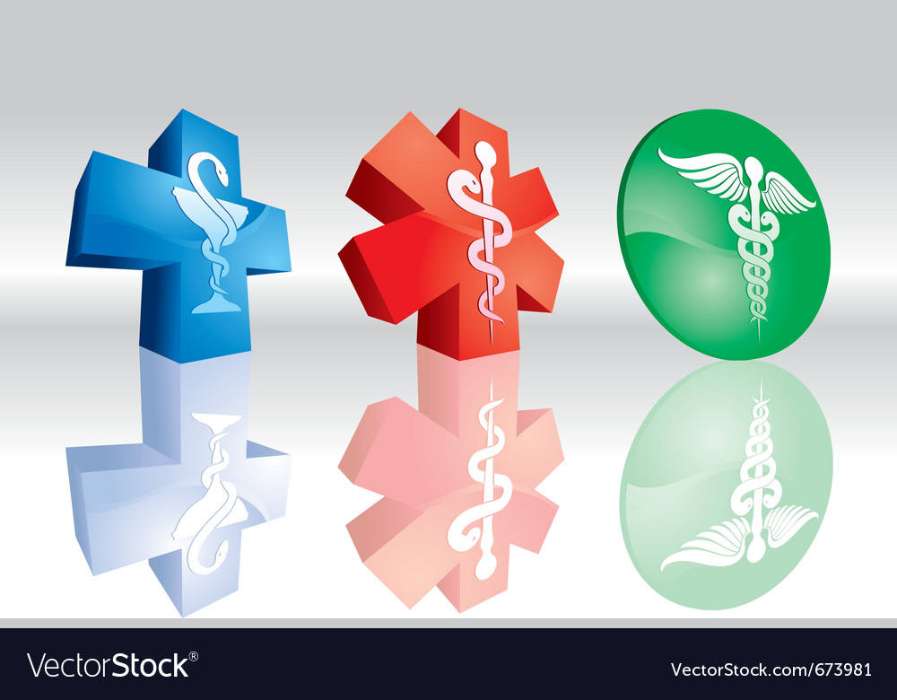 3d medical signs vector image