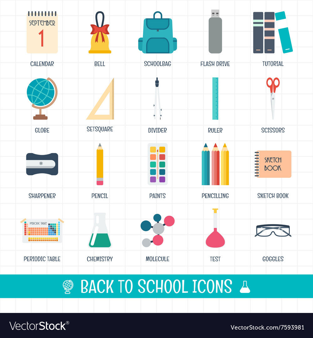 Back to school icons set School and education