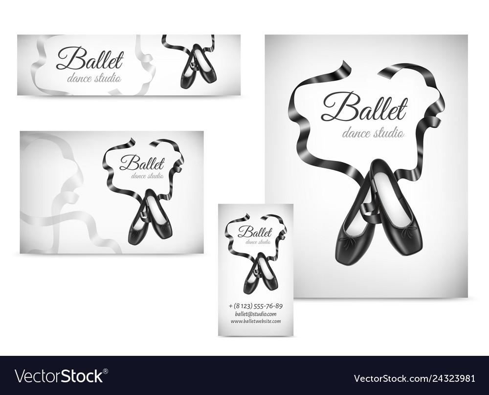 Black ballet shoes on poster visit card banner