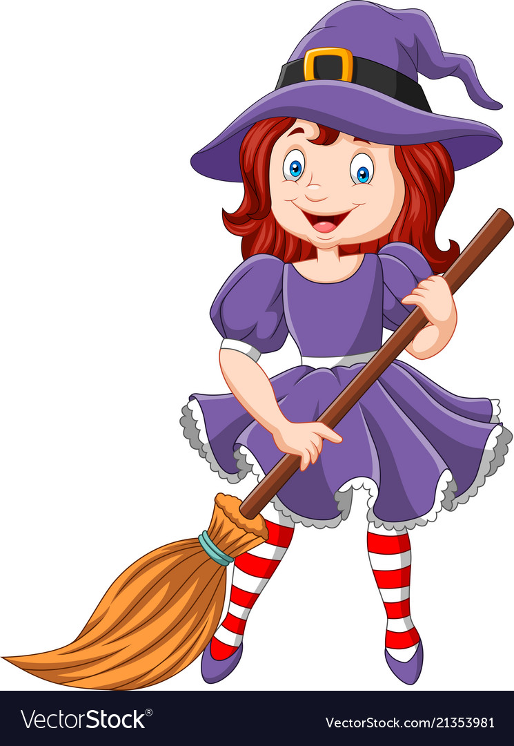 Cartoon little witch holding broomstick