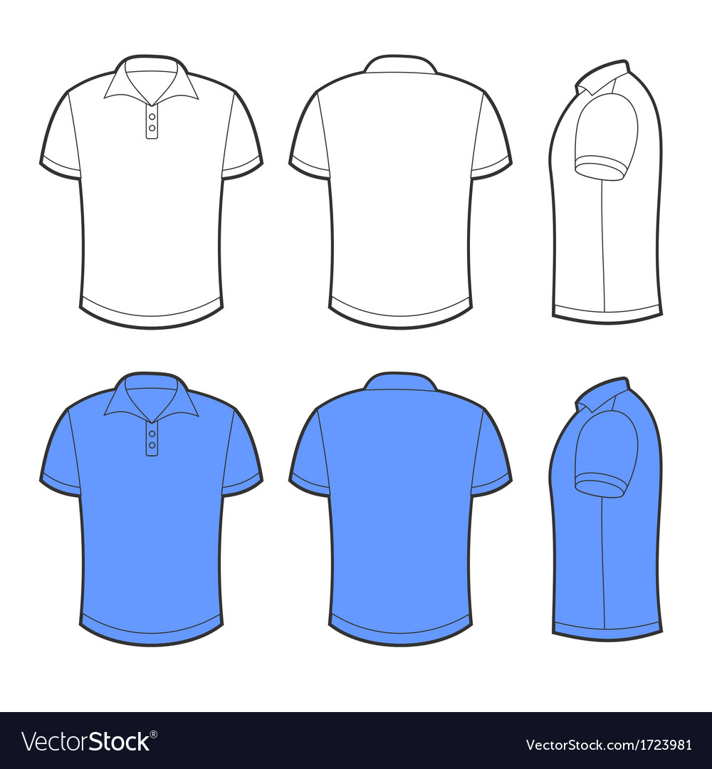 Front back and side views of blank polo vector image