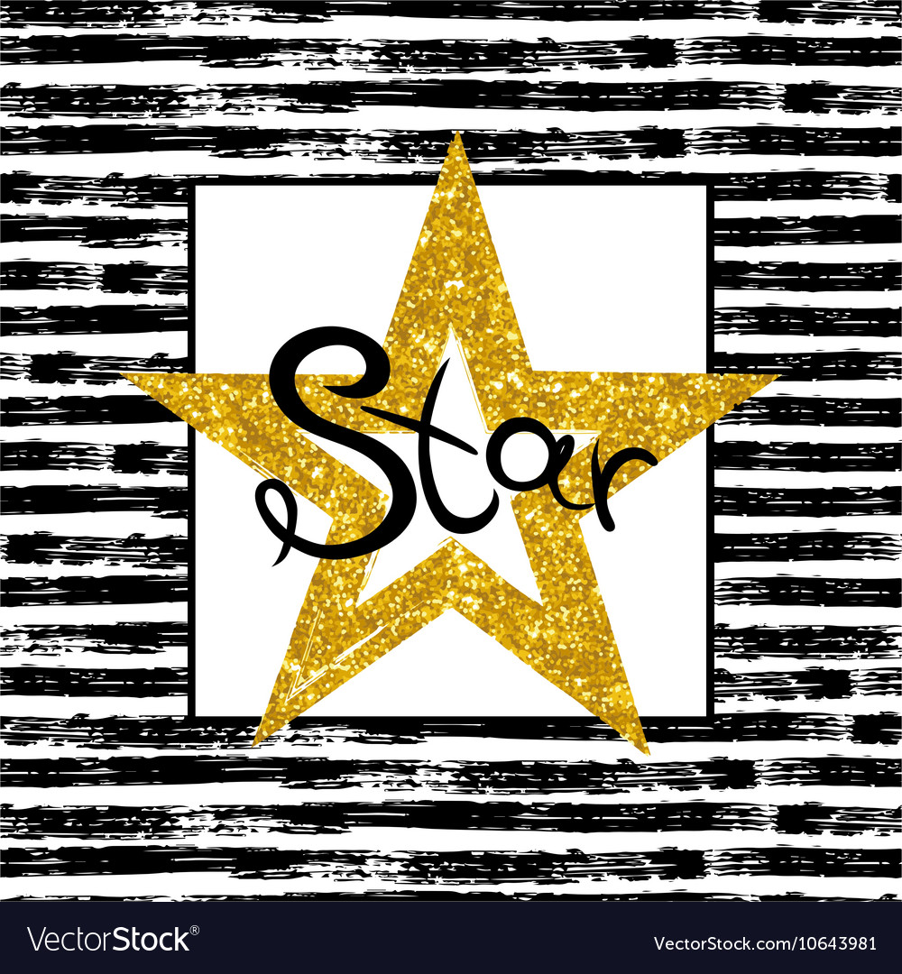 Golden Star on striped background
