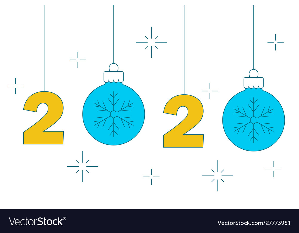 Hanging numbers and chrismas balls 2020 new year