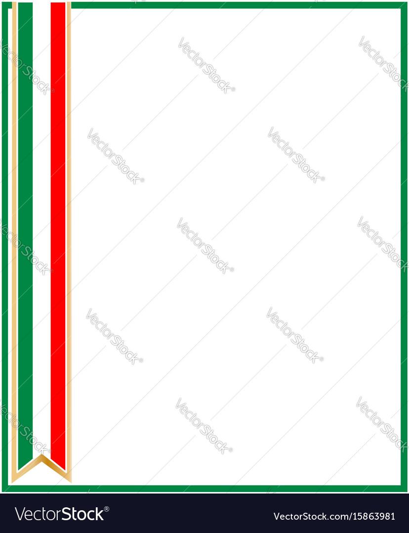 Italian flag ribbon frame vector image