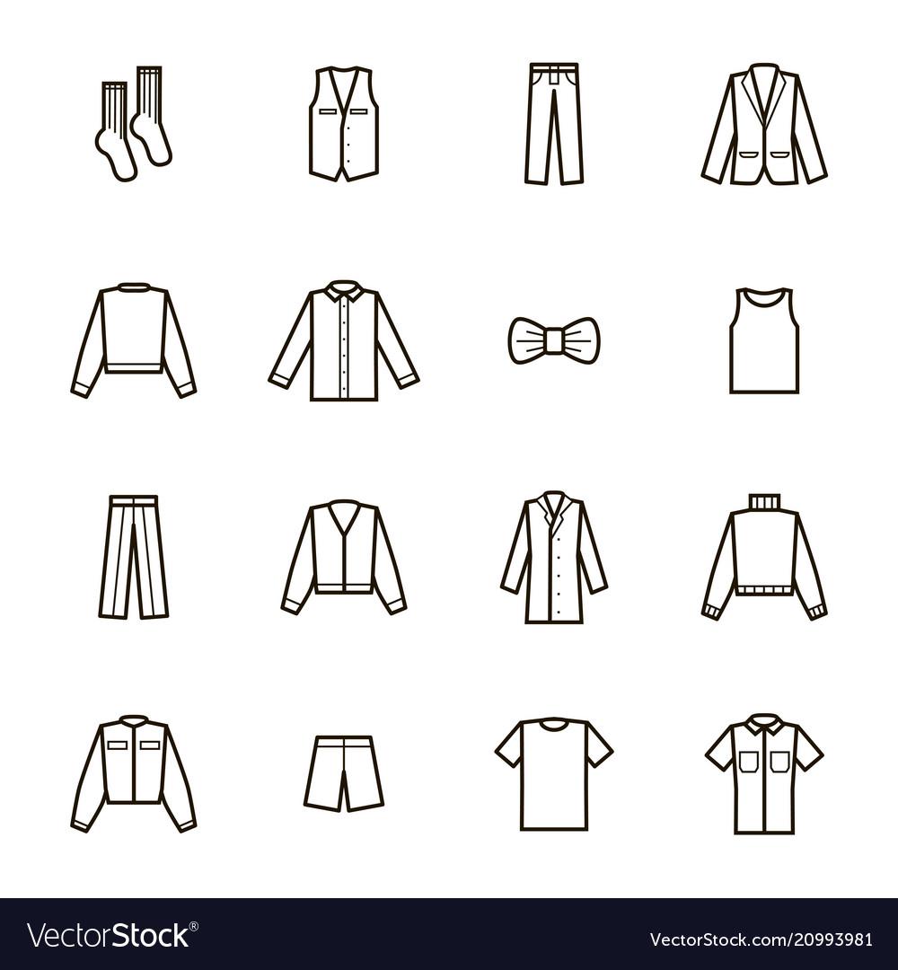 Man clothes signs black thin line icon set