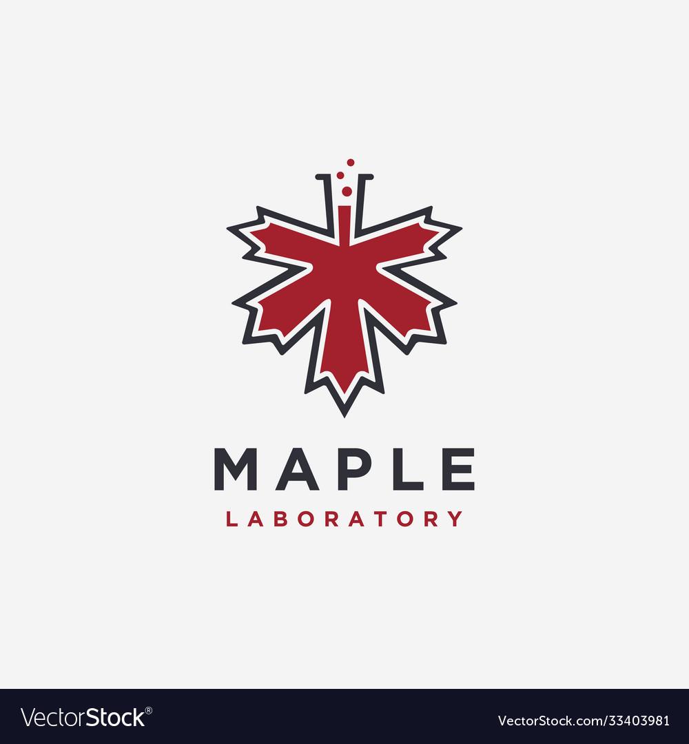 Maple and laboratory beaker logo icon template