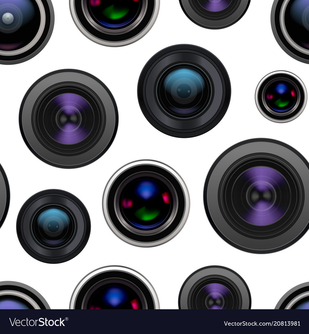 Realistic detailed 3d camera lens seamless pattern