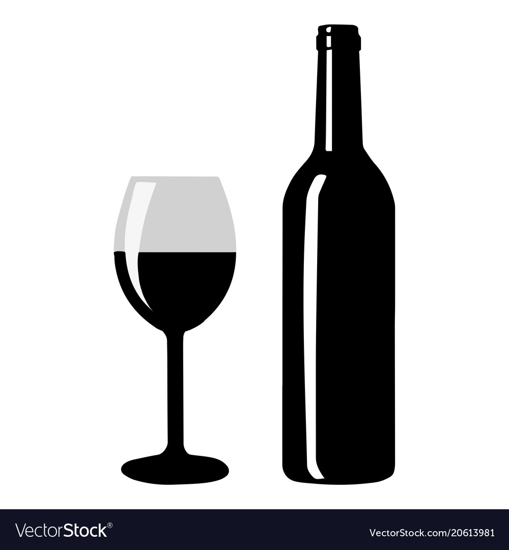 Wine bottle with wine glass icon