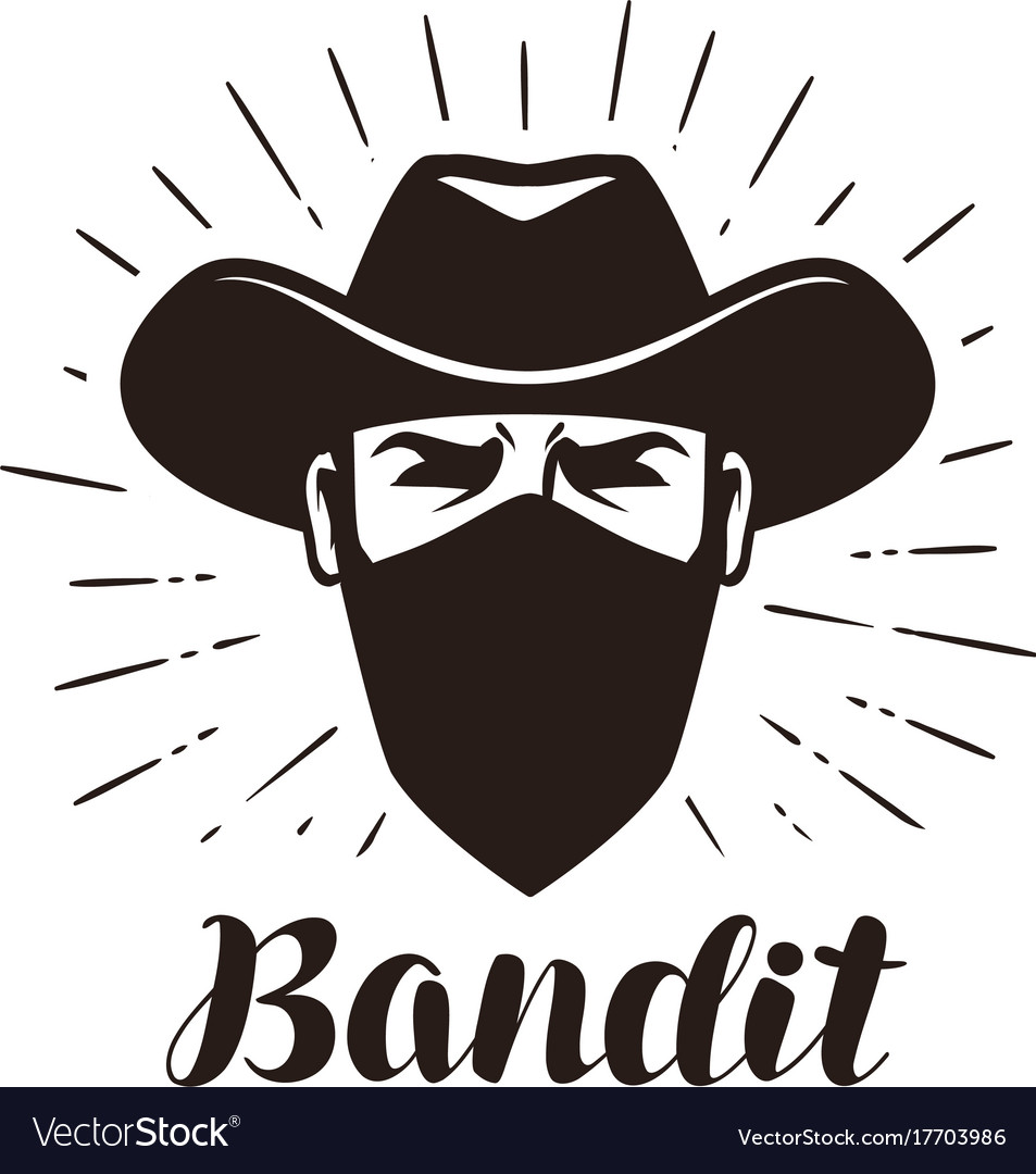 Angry bandit gangster logo or label portrait of