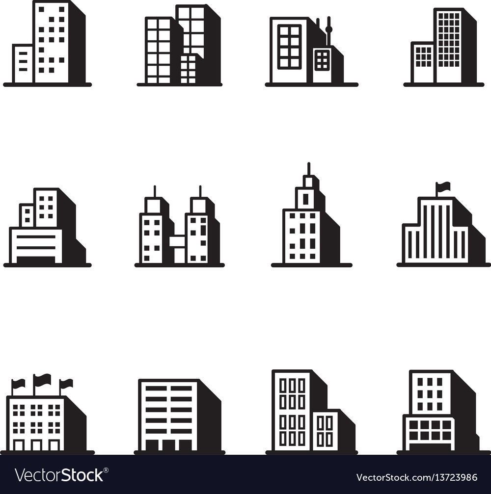 Building silhouette icons symbol set